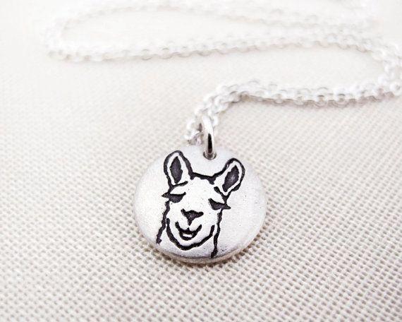 Tiny Llama necklace  silver eco friendly llama от lulubugjewelry, $30.00