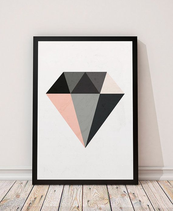 Diamond print, Minimalist art, Geometric print, Geometric poster, Watercolor art, Diamond wall art, Nordic style, Scandinavian print
