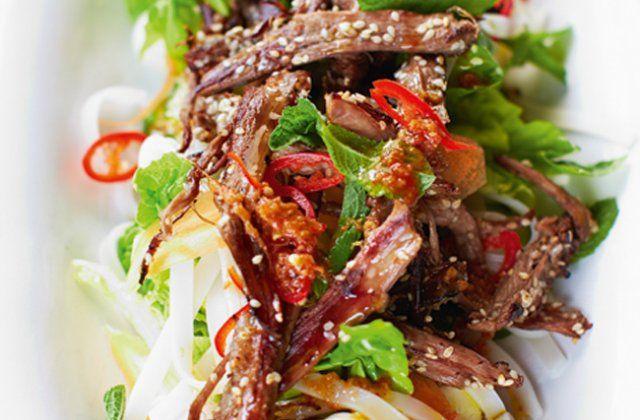 crispy lamb and noodle salad