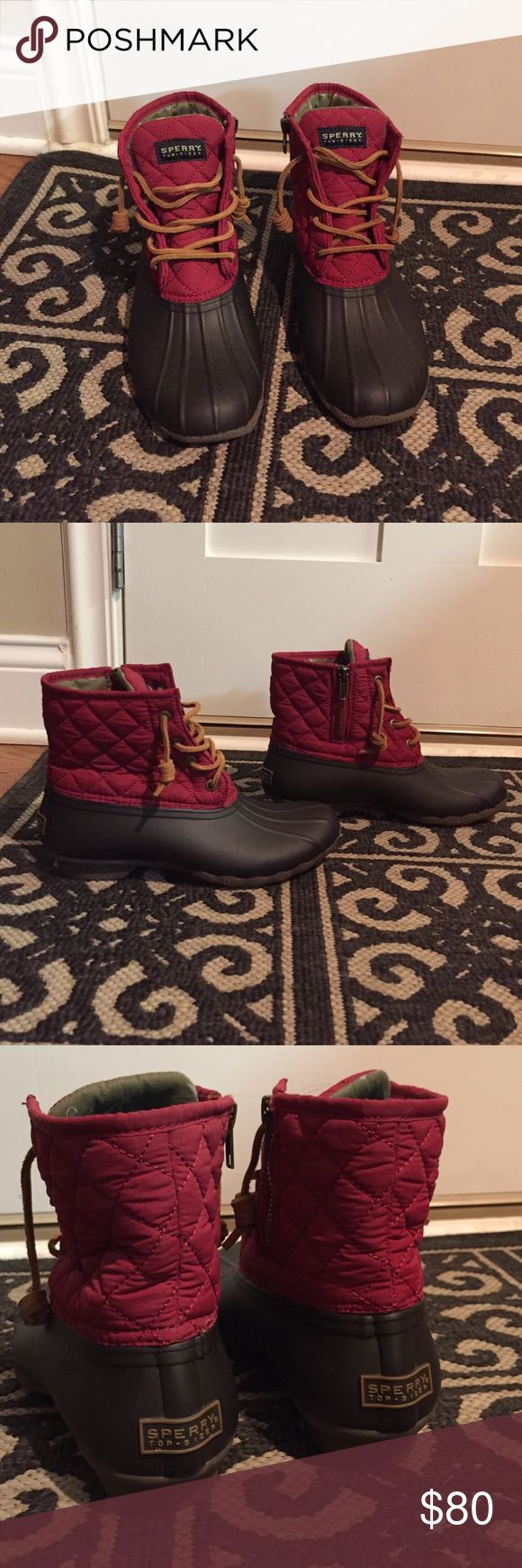 Sperry Top Sider Winter Duck Bean Boots Sperry duck/bean boots! Womens Size 6. Very pretty red color at the top with a lovely fabric. Water resistant. Worn once, and were too small for me! Wish I could keep them :( In perfect condition! Sperry Top-Sider Shoes Winter & Rain Boots