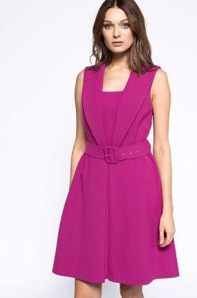 Simple - Sukienka fuksja rozkloszowana koktajlowa