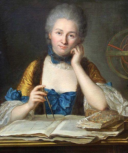 Émilie du Châtelet wielding dividers, with armillary sphere, books and diagrams. By Maurice Quentin de La Tour.