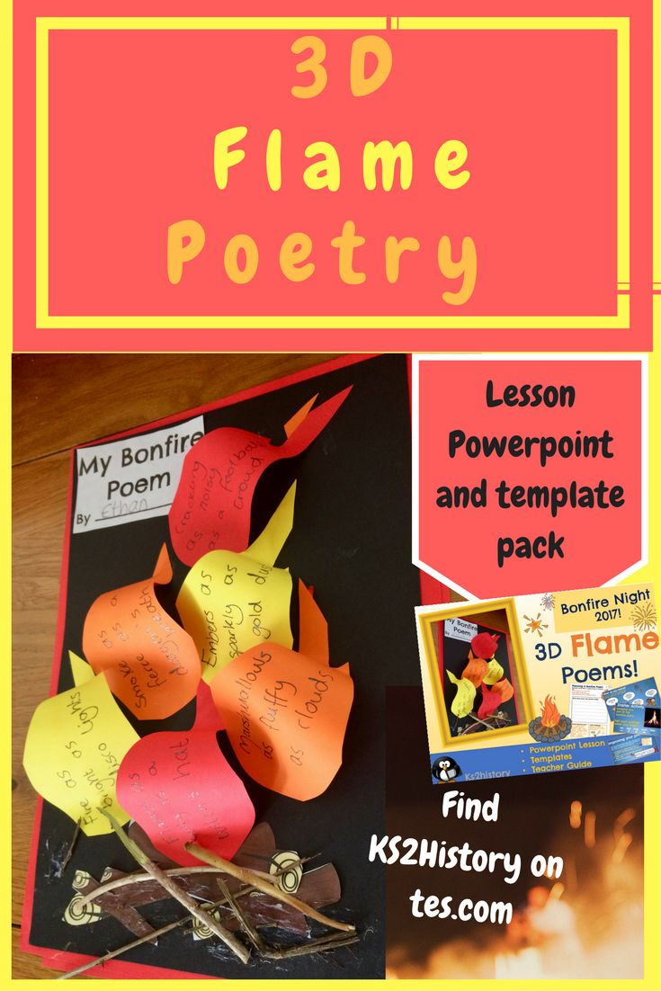 Create bonfire poetry in your KS1 or KS2 classrooms that will look great on display! An easy fire topic lesson leading to a fun 3D bonfire night poetry artwork that is sure to set off fireworks! Use the Powerpoint to follow the lesson plan.