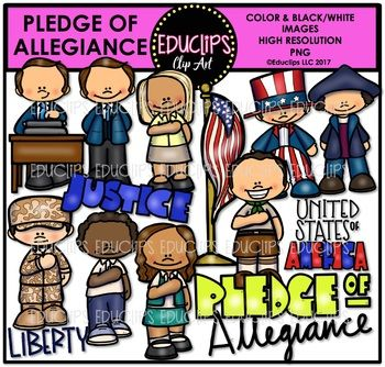 This is a collection of images to illustrate the Pledge of Allegiance. The images in this set are:Christopher Columbus, flag on pole, Francis Bellamy, Francis Bellamy writing the pledge, patriotic boy, people with hand on heart: girl, boy, soldier, girl & boy scout, justice sign, Liberty sign, Pledge of Allegiance word sign, United States word sign. 28 images (14 in color and the same 14 in B&W)This set is also available (at a discount) as part of the US GOVERNMENT CLIP ART MEGA BUNDL...