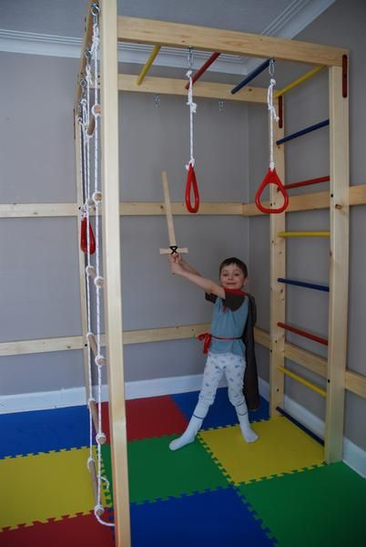 "The kit includes*:  Plans for building an indoor jungle gym; Easy-to-follow assembly instructions; All necessary hardware (121 pieces); One 20"" coated metal trapeze bar; One set of gym rings; Rope ladder  *Does not include lumber, dowels, or any other accessories except listed above Specifications:   DIY Indoor Jungle Gym occupies an area 4' X 6' (3' safety perimeter around jungle gym required) and monkey bars are 6'9"" off the floor   The equipment is designed to be used safely by up..."
