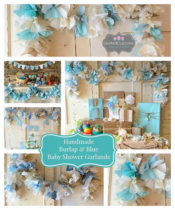 Baby Boy Burlap Shower Party Decoration 6-10 foot fabric Garland Banner, Burlap Party Decor & Photo Backdrop, Handmade, Baby Boy Shower