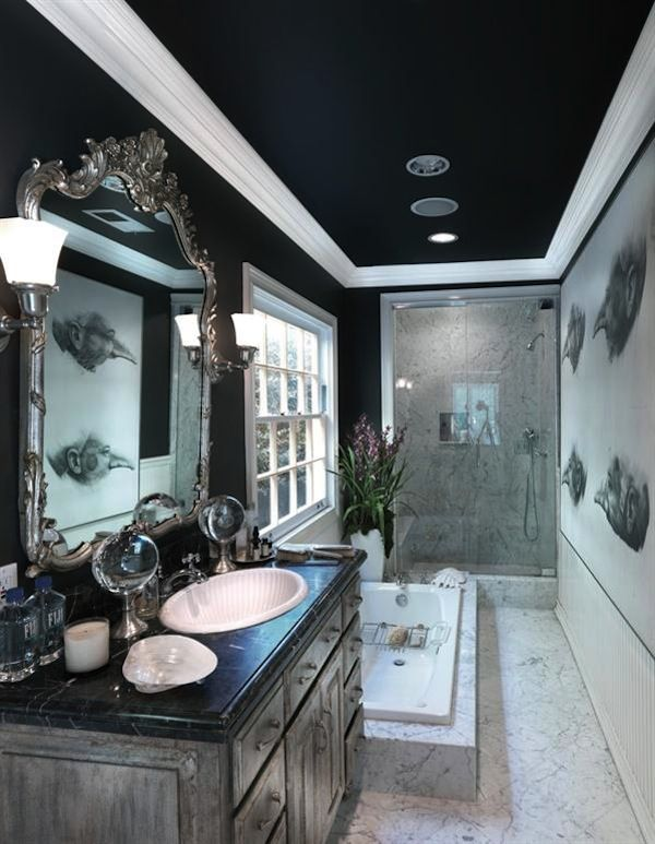 Navy Blue | Navy Painted Ceiling | Blue Paint Color | White Trim | Bathroom Design
