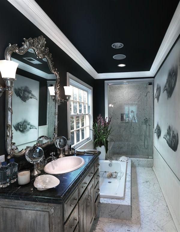 Navy Blue | Navy Painted Ceiling | Blue Paint Color | White Trim | Bathroom Design