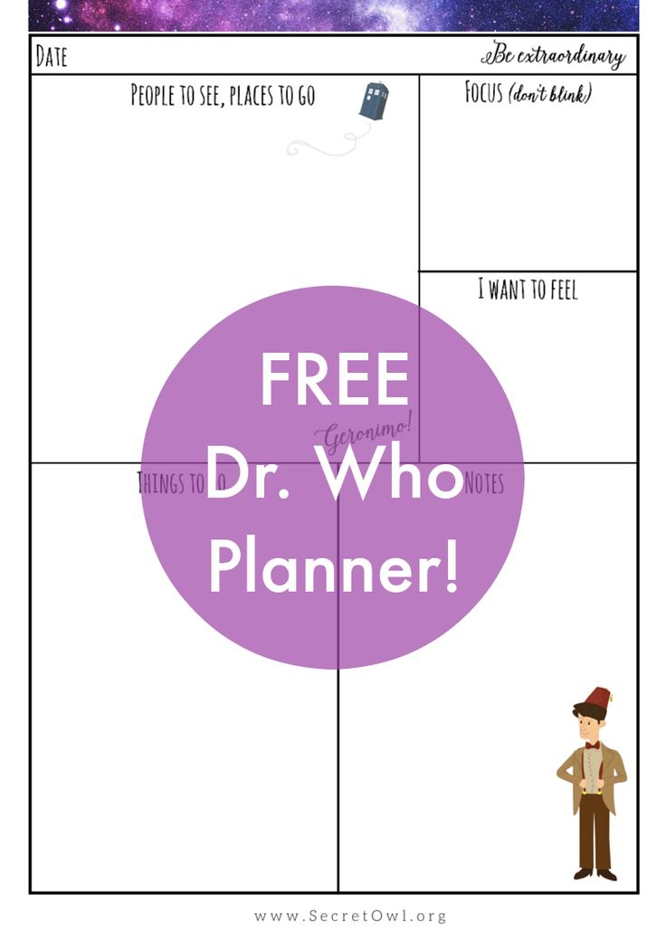 Free Doctor Who planner Printable - Secret Owl Society  :)