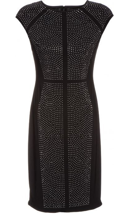 ANTIQUED-SILVERTONE STUDS |  showcase this flattering curve-refining dress by Joseph Ribkoff of Canada.