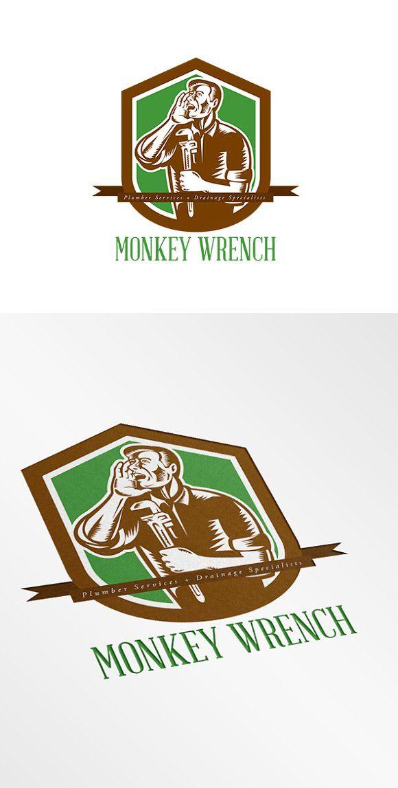 Monkey Wrench Plumber Services Logo by patrimonio on @creativemarket