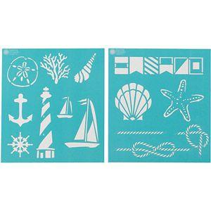 "Need to paint shells on anything? Martha Stewart Medium Stencils 2 Sheets/pkg, Nautical Study 8-3/4""x9-3/4"", 14 Designs"