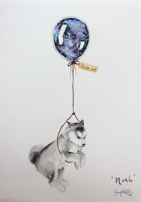 Zeichnen, malen, Aquarell, Hund