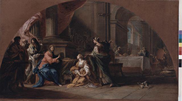 Anonimo , Conca Sebastiano - sec. XVIII - Cristo in casa di santa Marta e santa Maria Maddalena - insieme