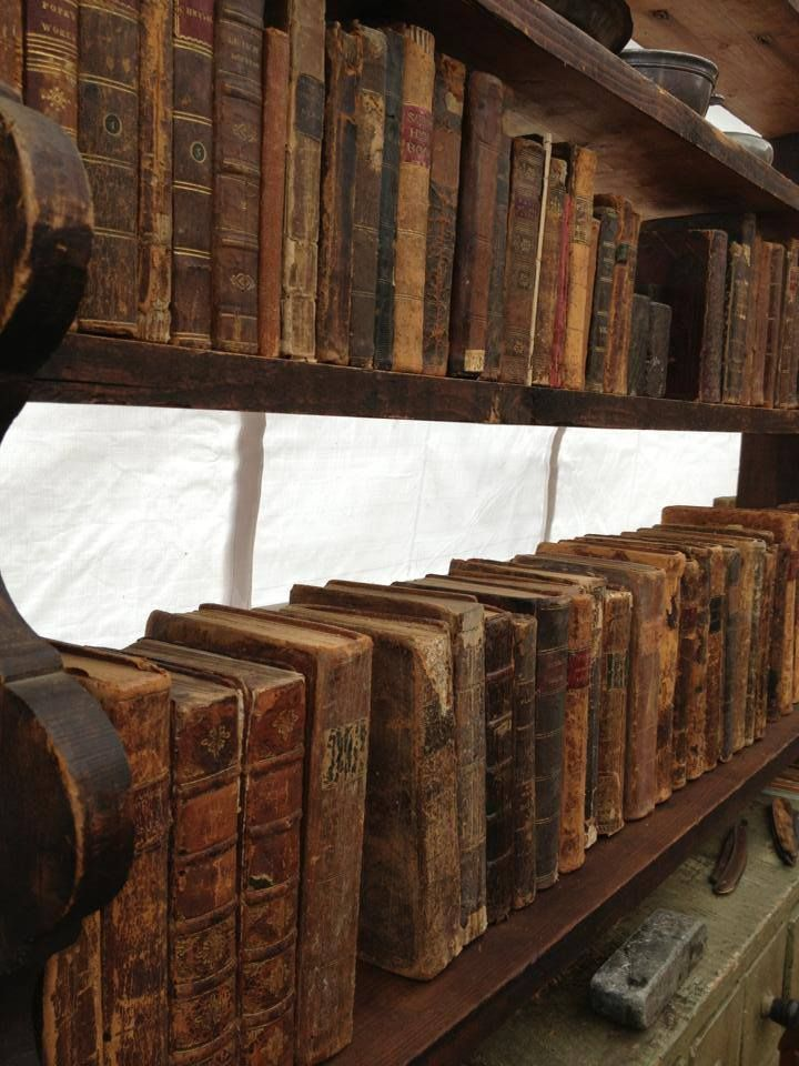 Old leather books.