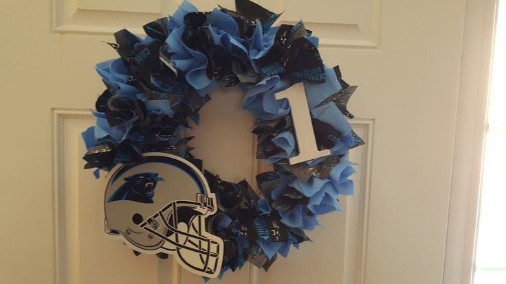 This is Panther country here in NC, I made this wreath with official logos.