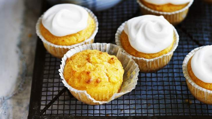 Suitable for the gluten-intolerant and for vegans: Apricot lemon cupcakes.