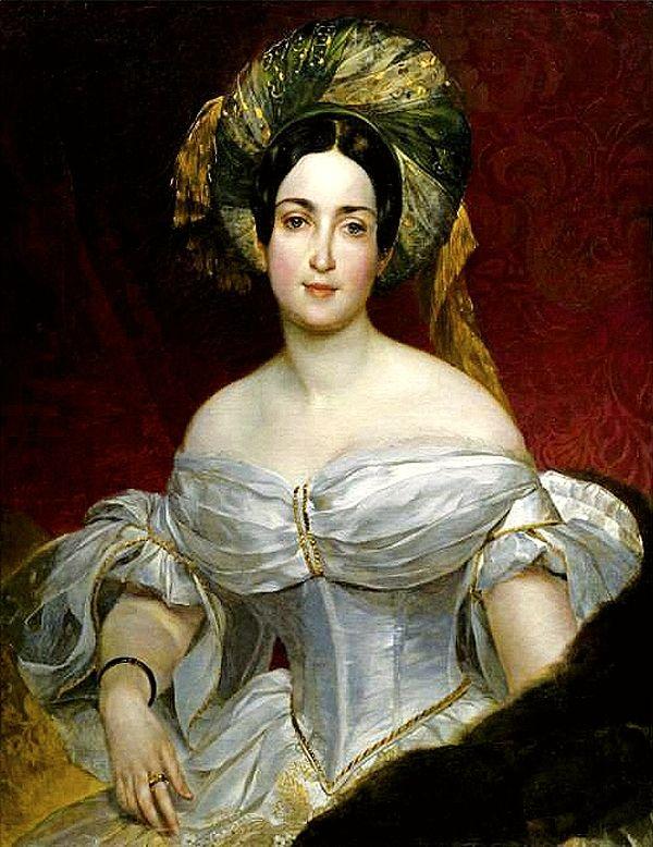 Karl Bryullov: Portrait (1837) Aurora Karamzin (b. 1 August 1808) was a Finnish Swede philanthropist. She was the founder and supporter of various charities. *** http://en.wikipedia.org/wiki/Aurora_Karamzina