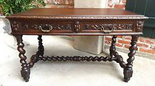 LARGE Antique French Carved Oak BARLEY TWIST Writing DESK TABLE ~ Renaissance