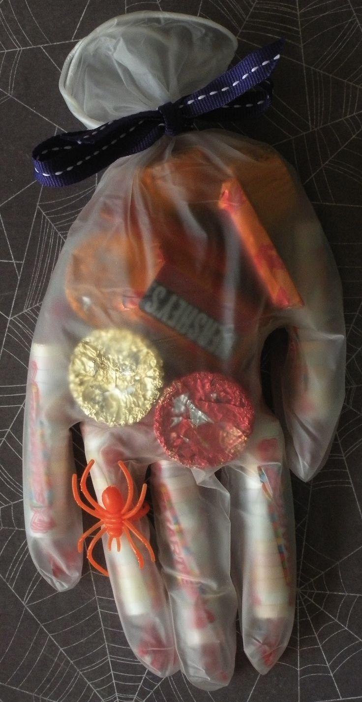 Halloween treats in a spooky glove.