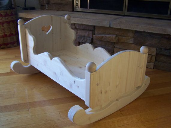 Handmade Wood Doll Cradle Toy by KringleWorkshops on Etsy