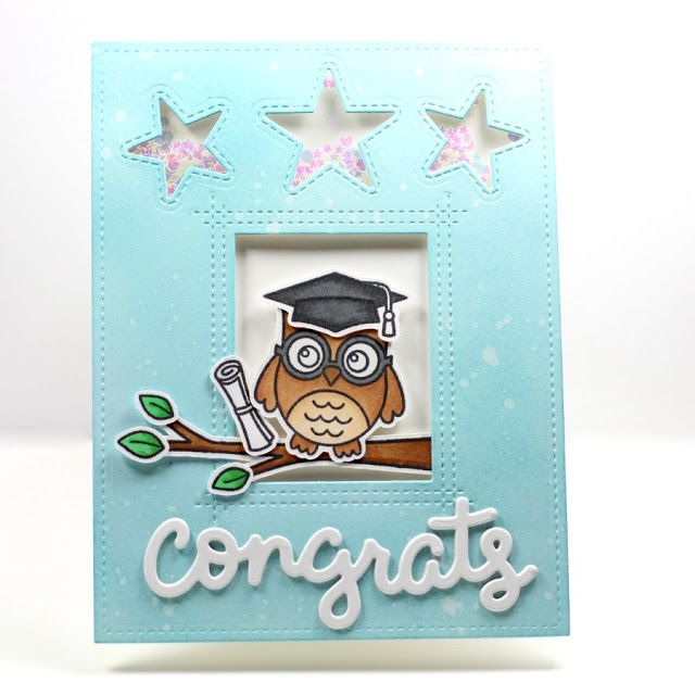 Sunny Studio Stamps: Woo Hoo Owl Graduation Card by crafty_m0chi