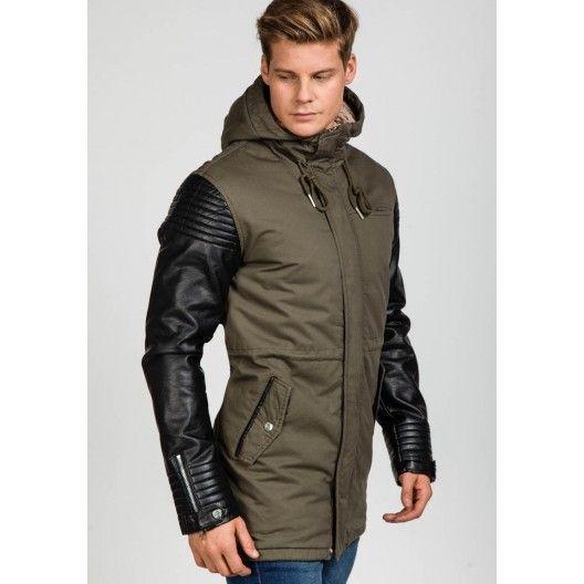 Štýlová pánska khaki bunda s koženými rukávmi - fashionday.eu