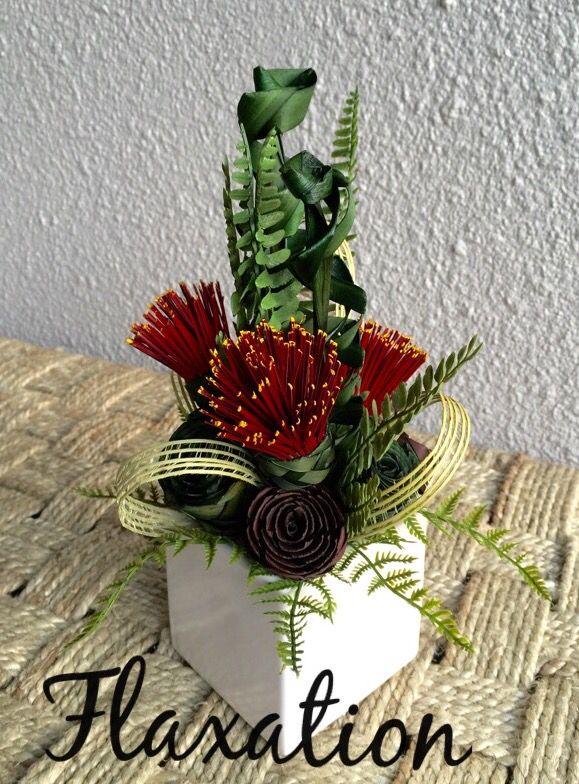 Pohutukawa fern centrepiece  www.flaxation.co.nz