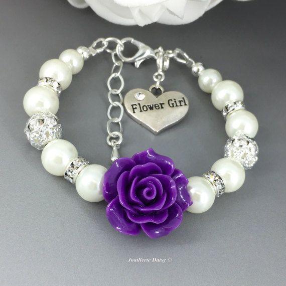 Bracelet de fille de fleur, bijoux de fille de fleur, filles de fleur cadeau, Bracelet de fille de fleur perle Ivoire, fleur Bracelet, Bracelet violet mauve