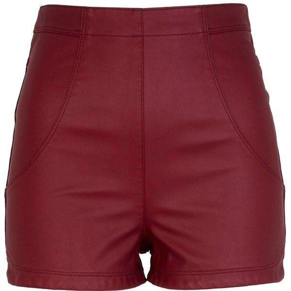 River Island Red High Waisted Leather Look Shorts ($48) ❤ liked on Polyvore