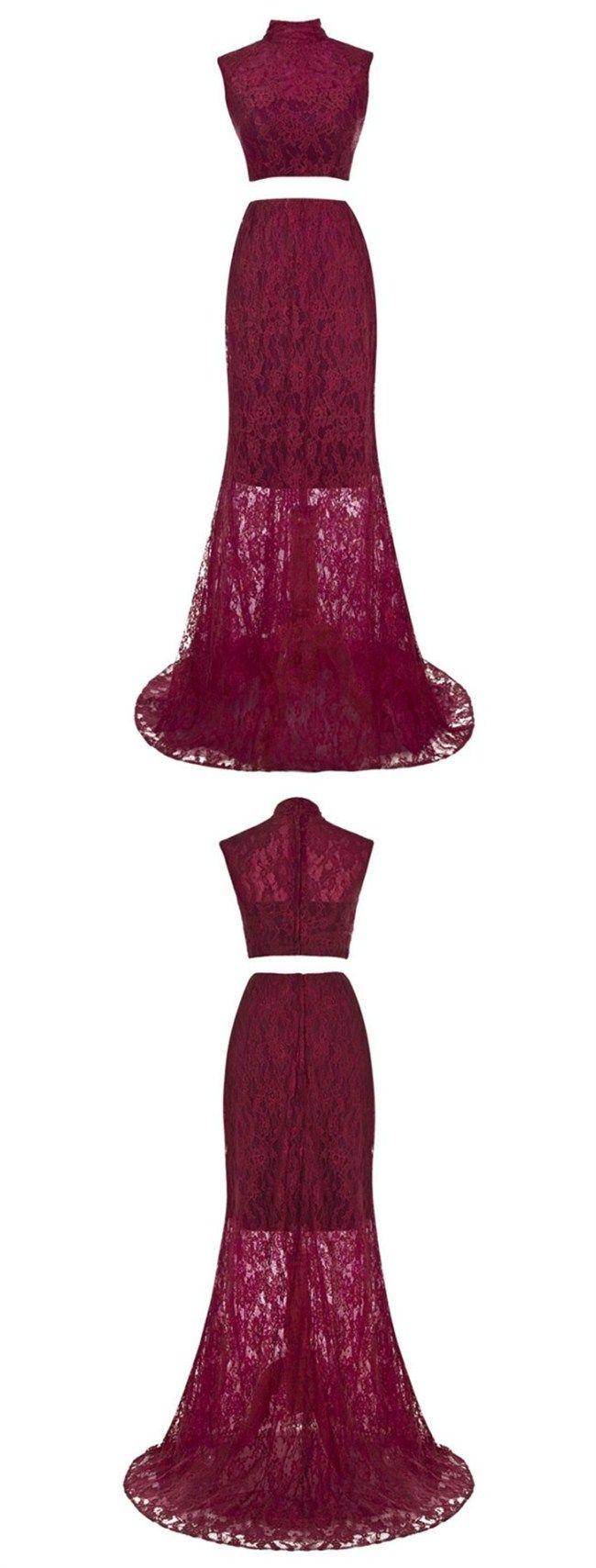 ブルゴーニュプロムのイブニングドレス, ゴージャスなハイネックウエディングドレス, 2ピースウエディングドレス, イリュージョンレース