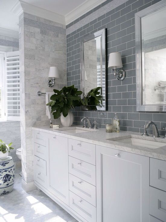 Master bath  with Daltile grey desert tile