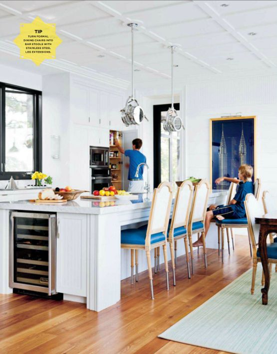 designed by Dee Dee Taylor Eustace of Taylor-Hannah ArchitectsLights Fixtures, S'Mores Bar, Nautical Home, Dining Chairs, Kitchens Ideas, Islands, Bar Stools, Design, White Kitchens