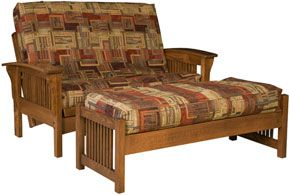Amish Outlet Store : Morris Loveseat Futon in Oak  2138.00 approx 15 years old.