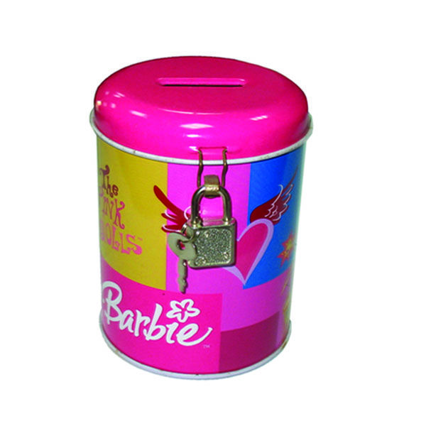 This round coin bank tin box with small lock and cute cartoon printing design is a perfect gift to kids.