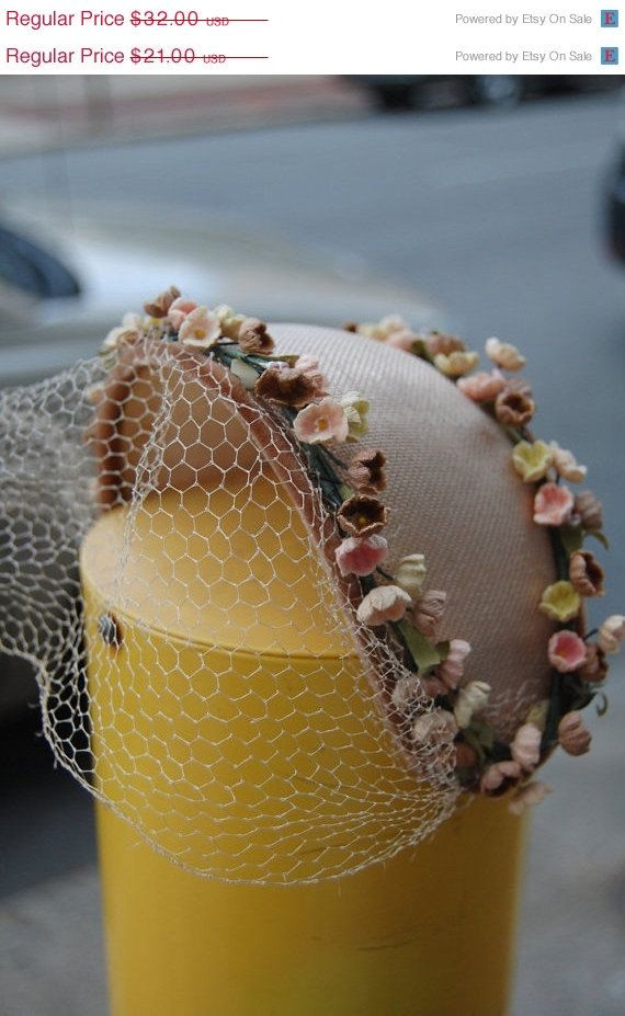 Clearance Sale / / Sweetheart 1950s hat - Hat with Flowers and Lace - Headband -. $20.80, via Etsy.