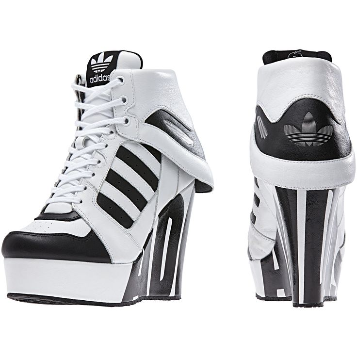 Put your sneaker love on a platform in these shoes. Jeremy Scott's modern  update to the adidas Streetball shoe, they get a wedge heel for a strong  statement ...