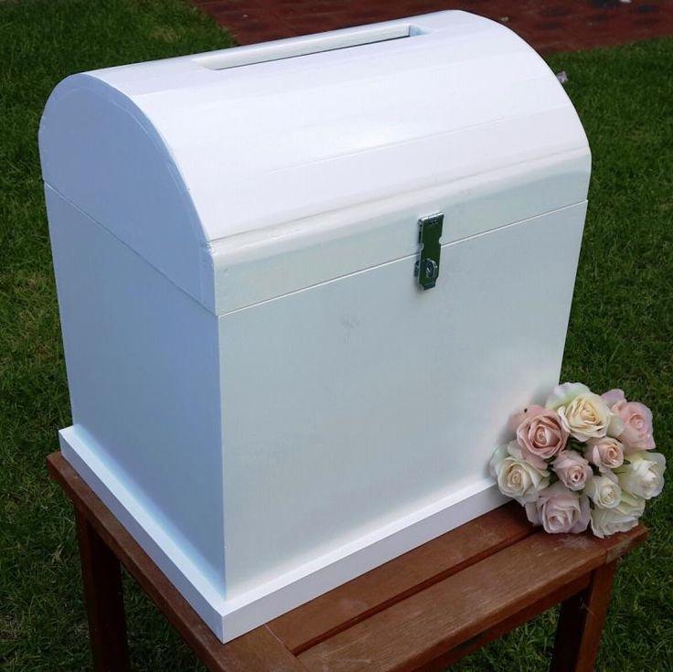 Wedding  Large White Wooden Treasure Chest - HIRE - WeddingWish.com.au