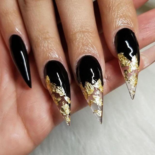 Black and Gold Foil Stiletto Nails