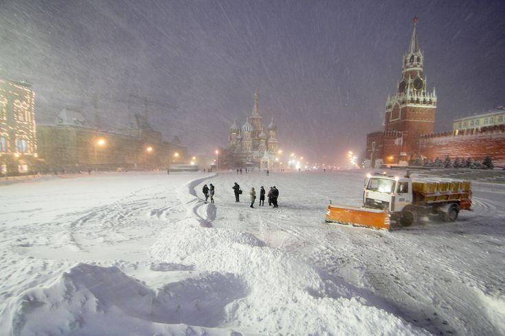 Muscovites on Red Square during a heavy snowfall. Source: Denis Tyrin/RIA Novosti #travel #places #moscow