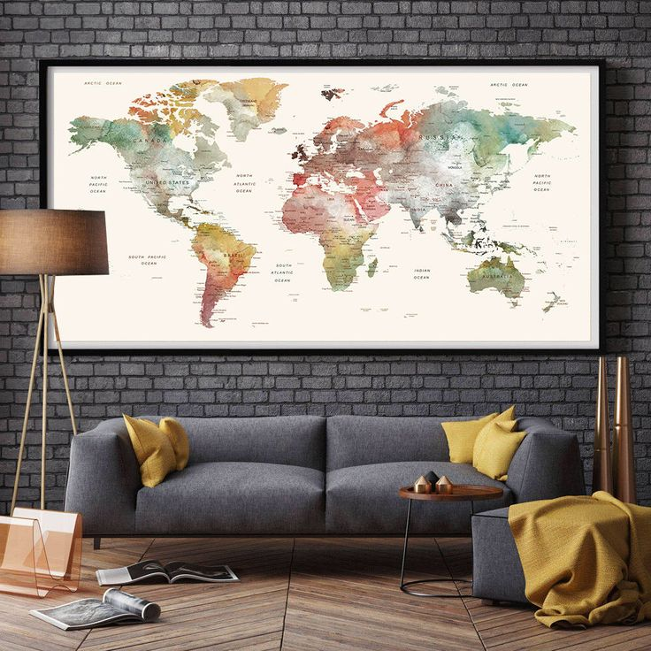 91 best extra large wall art images on pinterest extra large world map watercolor world map large world map large world map poster large gumiabroncs Image collections