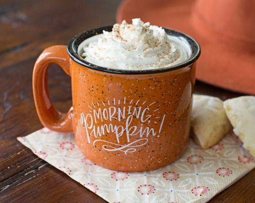 "Fall cuteness! ""Good morning, pumpkin!"" orange graphic camping mug"