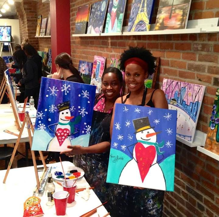 Snowman Love Painting on Newbury St! #thepaintbar