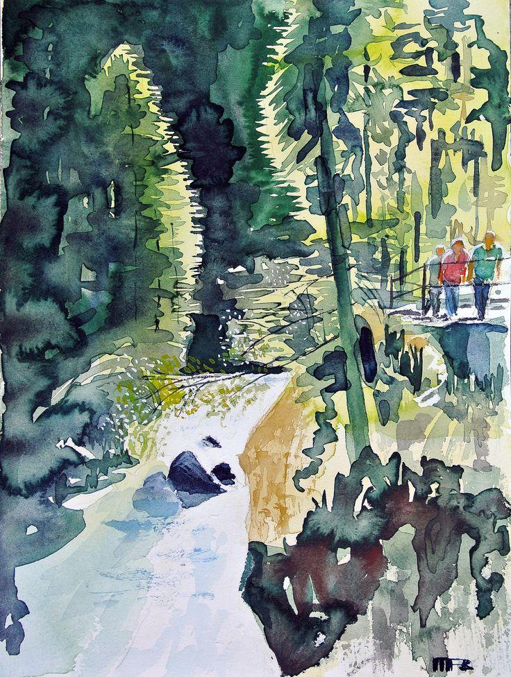 Breitachklamm 7 2016 Aquarell auf Bütten 35x56 cm #art #Aquarelle #watercolours #Breitachklamm #blue #Kunst #Aquarellkünstler #paintings #Licht und Schatten #Kontraste