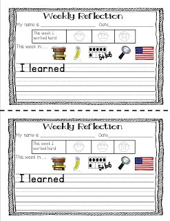FREEBIE weekly reflection sheet for Kinders!  WHY it's important to know WHY!