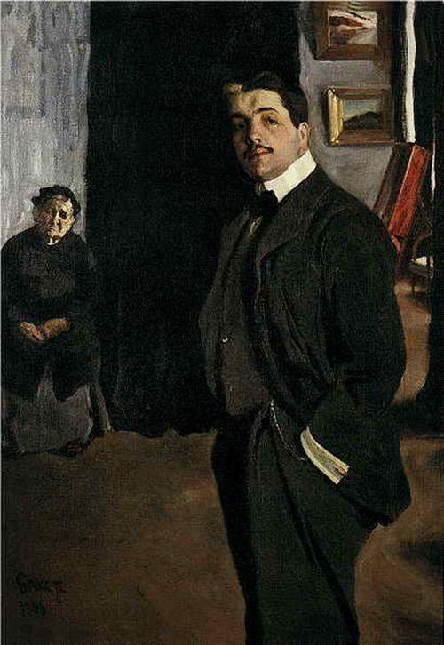Lev Bakst Portrait of Sergei Pavlovich Diaghilev with a nanny. 1906. ]
