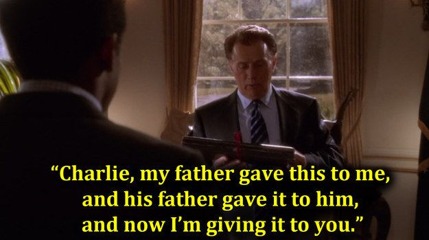 """When Bartlet sent Charlie to purchase him a carving knife before he presented one of his own.   25 Times """"The West Wing"""" Was The Best Show On Goddamn Television"""