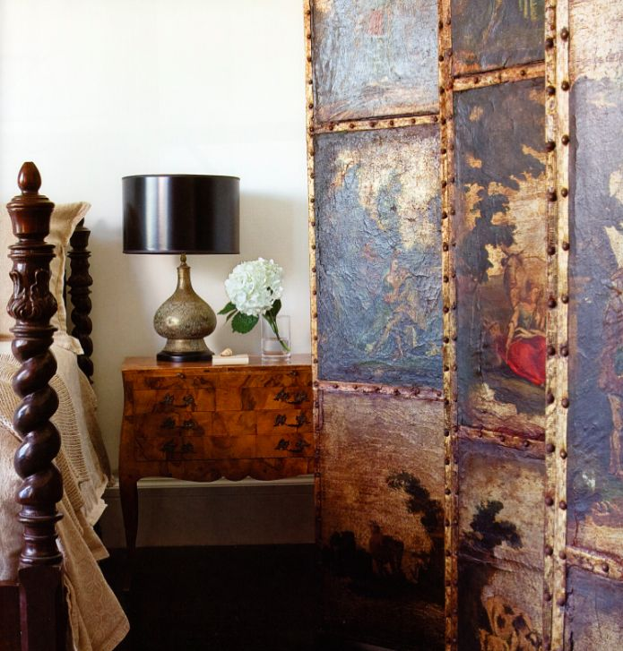 Darryl Carter Bedroom With Antique Leather Screen.
