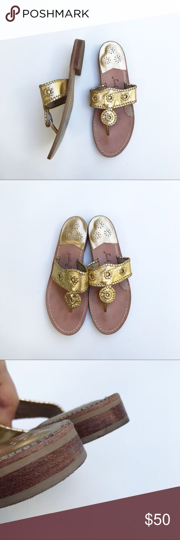 Jack Rogers Gold Palm Beach Whipstitched Sandals ⠀ ‣‣❊‣‣‣‣❊‣‣ NO TRADES ‣‣❊‣‣‣‣❊‣‣ ⠀ ☾Jack Rogers palm beach Whipstitched Navajo Sandals in gold. Tonal flowers and whipstitched trim detail a hand-laced style, crafted from soft leather. Subtle scuffs throughout, minimal wear. Retail $117. Jack Rogers Shoes Sandals