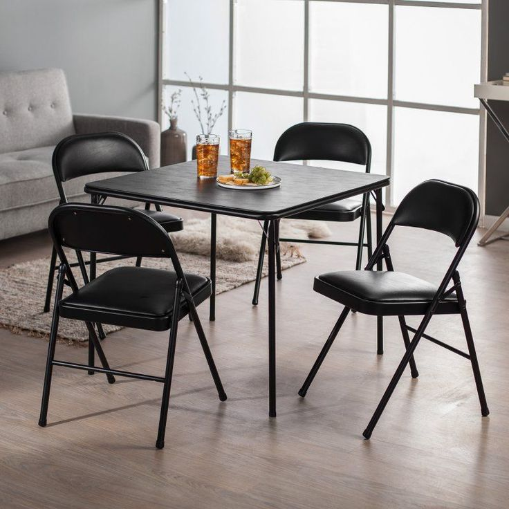 Meco Sudden Comfort Deluxe Double Padded Chair and Back- 5 Piece Card Table Set - Black - E47.49.801